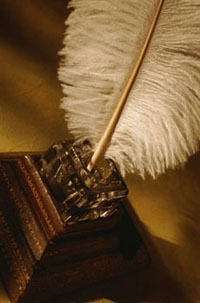 picture of quill pen in inkstand